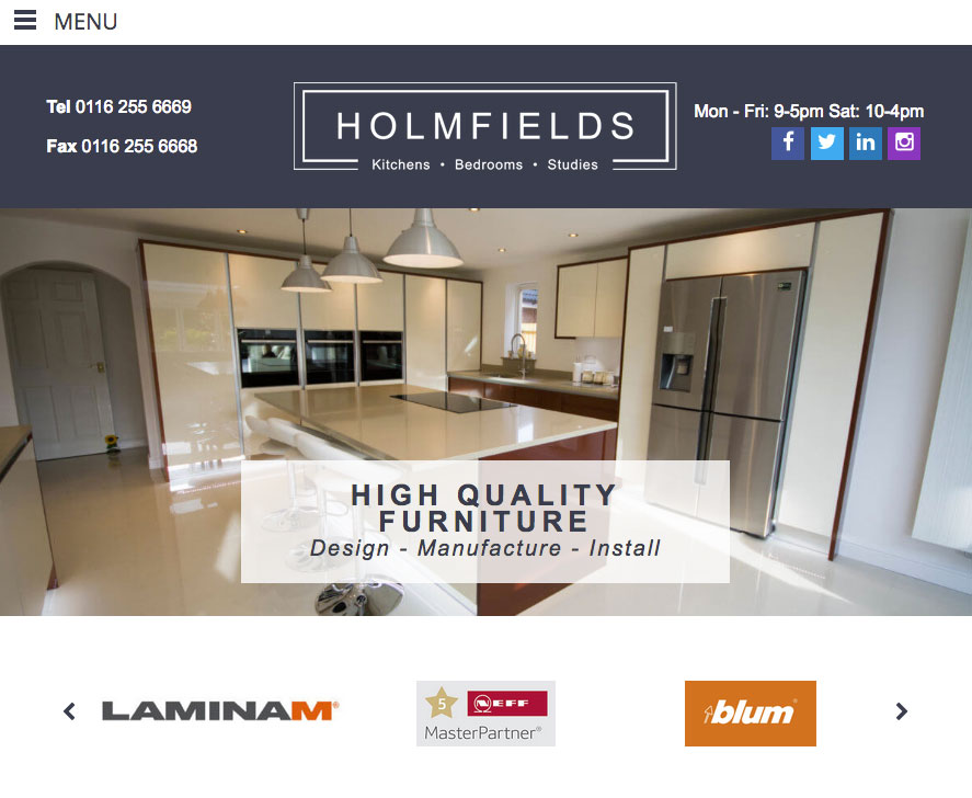 Holmfields Tablet Website View