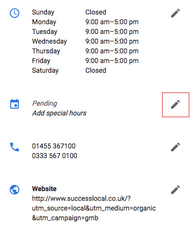 Add Special Hours
