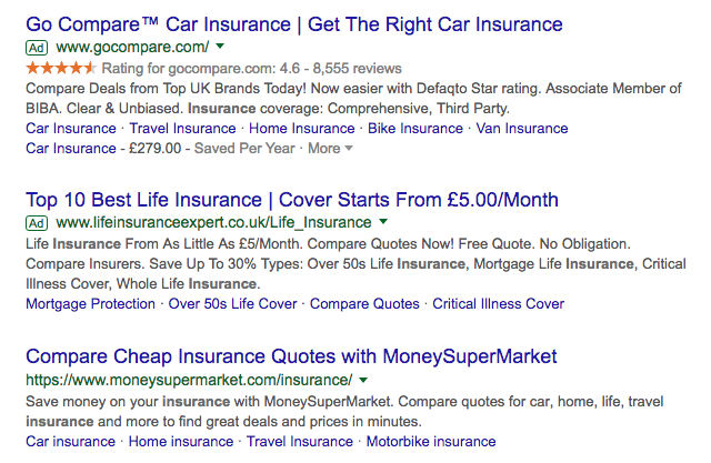 google results for 'insurance'