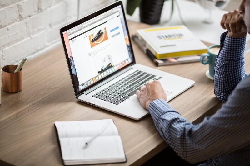 mac book on desk
